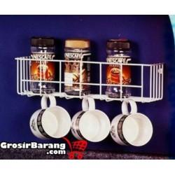 Rak Tempat Botol Saos Bumbu Dapur Kaleng Makanan Dan Minuman Gantungan Mug Gelas