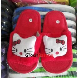 Sandal FlipFlop Bulu Kamar Hello Kitty Merah
