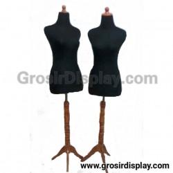 Patung Manekin Wanita Tiang Kaki Kayu Pajangan Display Butik Toko Baju