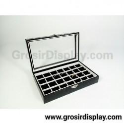 Kotak Tempat Cincin Kaca Croco Isi 28 Batu Akik Ring Aksesoris Perhiasan