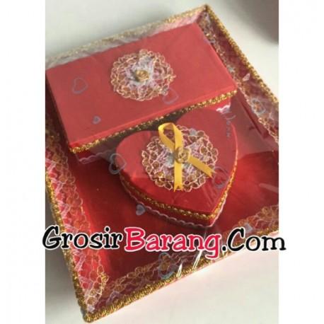 Nampan Seserahan Merah Maron Set Tempat Kalung Gelang Kotak Love Murah