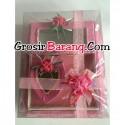 Paket Tempat Seserahan Nampan Kotak Love Pink Pita Tutup Mika Bening