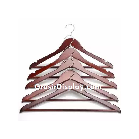 Hanger Kayu Palang Dewasa Coklat Tua Ekonomis Pajangan Kaos Baju Perlengkapan Butik Distro