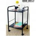 Meja Troli Pajangan 2 Susun Besi Roda Rak Dispenser Buku Perlengkapan Kantor Serbaguna