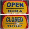 Gantungan Papan Open Close Petunjuk Buka Tutup Akrilik Jumbo Kuning Perlengkapan Butik Toko