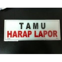 Sticker Tanda Peringatan Tulisan Tamu Harap Lapor Tempel Kaca