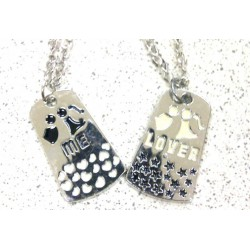Kalung Couple Hitam Putih Stainless Steel